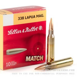 10 Rounds of .338 Lapua Ammo by Sellier & Bellot - 250gr HPBT