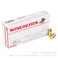 500rds - 45 ACP Winchester USA 185gr. FMJ Ammo