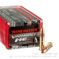 50 Rounds of .22 LR Ammo by Winchester Varmint HE - 37gr CPHP