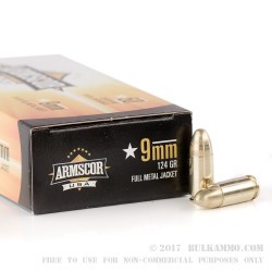 50 Rounds of 9mm Ammo by Armscor - 124gr FMJ
