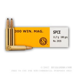 20 Rounds of .300 Win Mag Ammo by Sellier & Bellot - 180gr SPCE