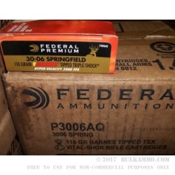 20 Rounds of 30-06 Springfield Ammo by Federal - 110gr TTSX