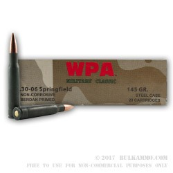 500  Rounds of 30-06 Springfield Ammo by Wolf - 145gr FMJ