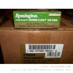 200 Rounds of 30-06 Springfield Ammo by Remington Premier Ultra Bonded - 180gr PSP