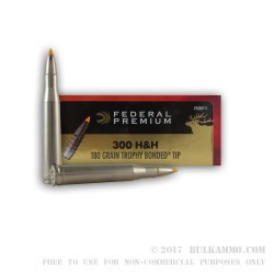 20 Rounds of .300 H&H Mag Ammo by Federal - 180gr Trophy Bonded Tip