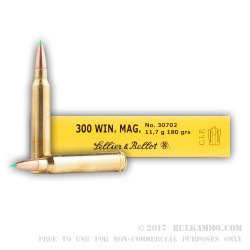 20 Rounds of .300 Win Mag Ammo by Sellier & Bellot - 180gr Polymer Tipped