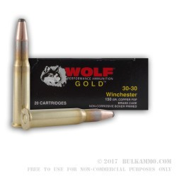 20 Rounds of 30-30 Win Ammo by Wolf Gold - 150gr FSP