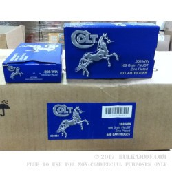 500 Rounds of .308 Win Ammo by Colt (Barnaul) - 168gr FMJBT