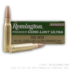 20 Rounds of .308 Win Ammo by Remington Core-Lokt Ultra Bonded - 180gr PSP