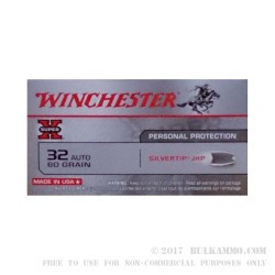 50 Rounds of .32 ACP Ammo by Winchester Silver Tip - 60gr JHP