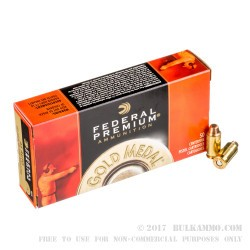 1000 Rounds of .45 ACP Ammo by Federal Gold Medal Match - 185gr FMJSWC