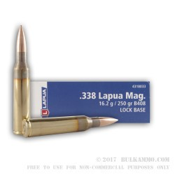 10 Rounds of .338 Lapua Ammo by Lapua - 250gr FMJBT