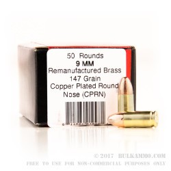 1000 Rounds of 9mm Ammo by BVAC - 147gr CPRN