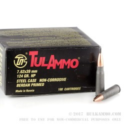 1000 Rounds of 7.62x39mm Ammo by Tula - 124gr HP