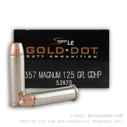 50 Rounds of .357 Mag Ammo by Speer Gold Dot LE - 125gr JHP
