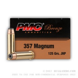 1000 Rounds of .357 Mag Ammo by PMC - 125gr JHP