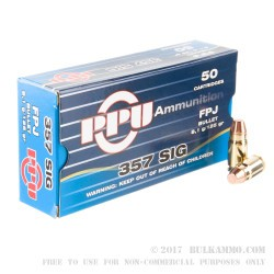 1500 Rounds of .357 SIG Ammo by Prvi Partizan - 125gr FMJ