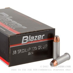 1000 Rounds of .38 Spl +P Ammo by Blazer - 125gr JHP