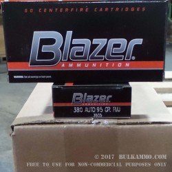 1000 Rounds of .380 ACP Ammo by CCI - 95gr FMJ