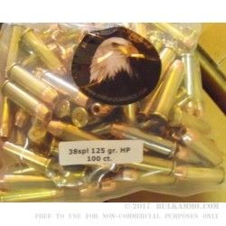 100 Rounds of .38 Spl Ammo by MBI - 125gr HP