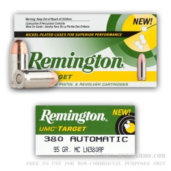 50 Rounds of .380 ACP Nickel Plated Ammo by Remington - 95gr MC