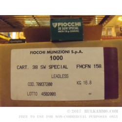 50 Rounds of .38 S&W Special Ammo by Fiocchi - 158gr FMC