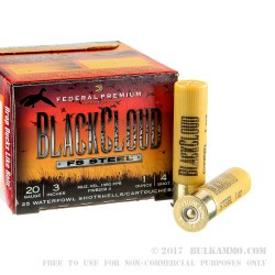 "250 Rounds of 20ga Ammo by Federal Blackcloud - 3"" 1 ounce #4 shot"