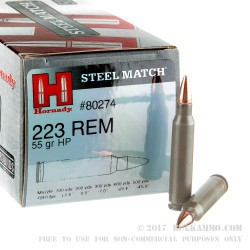 500 Rounds of .223 Ammo by Hornady Steel Cased Match - 55gr HP