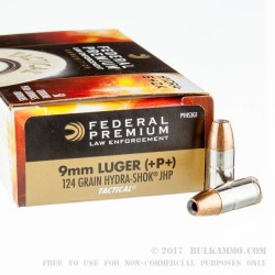 50 Rounds of 9mm +P+ Ammo by Federal Hydra Shok - 124gr JHP
