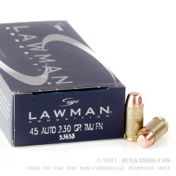 50 Rounds of .45 ACP Ammo by Speer - 230gr TMJ