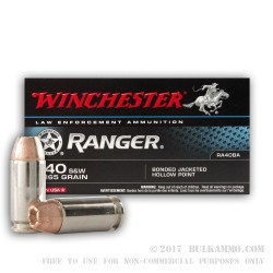 50 Rounds of .40 S&W Ammo by Winchester - 165gr JHP Bonded
