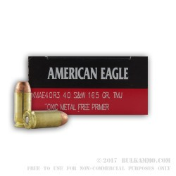 50 Rounds of .40 S&W Ammo by Federal American Eagle - 165gr TMJ