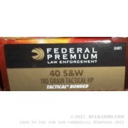 50 Rounds of .40 S&W Ammo by Federal Tactical Bonded - 180gr JHP