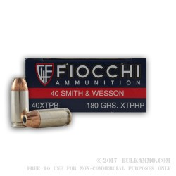 50 Rounds of .40 S&W Ammo by Fiocchi - 180gr JHP XTP