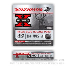 5 Rounds of .410 Ammo by Winchester - 1/5 ounce HP Rifled Slug