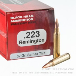 50 Rounds of .223 Ammo by Black Hills Ammunition - 62gr TSX