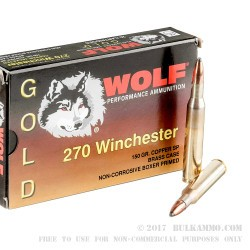 20 Rounds of .270 Win Ammo by Wolf Gold - 150gr SP