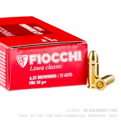 1000 Rounds of .25 ACP Ammo by Fiocchi - 50gr FMJ