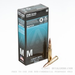 20 Rounds of 7.62x51mm Ammo by PNW Arms - 175gr HPBT Sierra MatchKIng