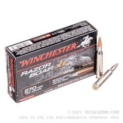 20 Rounds of .270 Win Ammo by Winchester - 130gr HP
