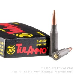 1000 Rounds of 5.45x39mm Ammo by Tula - 60gr FMJ