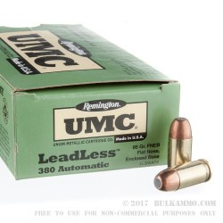 50 Rounds of .380 ACP Ammo by Remington - 95gr FNEB