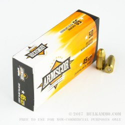50 Rounds of .45 ACP Ammo by Armscor - 230gr FMJ