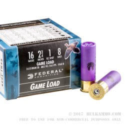 25 Rounds of 16ga Ammo by Federal - 1 ounce #8 shot