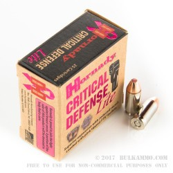25 Rounds of 9mm Ammo by Hornady Critical Defense Lite- 100gr FTX