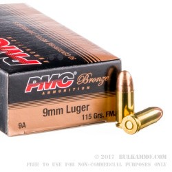 1000 Rounds of 9mm Ammo by PMC - 115gr FMJ