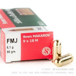 50 Rounds of 9x18mm Makarov Ammo by Sellier & Bellot - 95gr FMJ