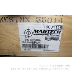 10 Rounds of 50 Cal BMG M33 Steel Core Ammo Made by Magtech - 624 gr FMJ