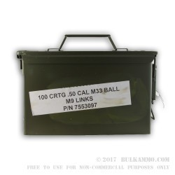 100 Rounds of .50 BMG Linked Ammo by Lake City in Ammo Can - 660 gr FMJ