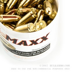 100 Rounds of 9mm Ammo by BrassMAXX - 115gr FMJ